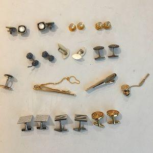 Vintage lot of cufflinks, tie clips, lapel pin